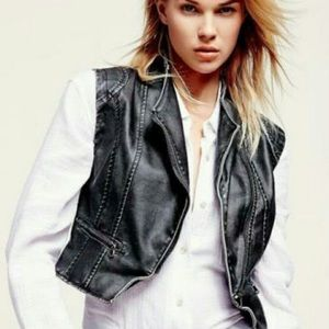 Free People Motorboat Me Up Faux Leather Zip Vest